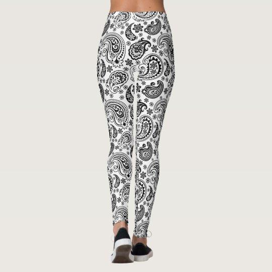 Black & White Ornate Paisley Pattern 2 Leggings