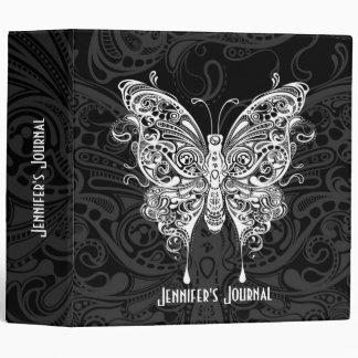 Black & White Ornate TribalButterfly Binders