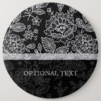 Black & White Ornate Vintage Floral Lace Pattern 6 Inch Round Button