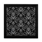 Black & White Ornate Vintage Lace Pattern Gift Box