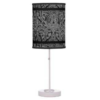 Black & White Paisely Table Lamp / Abas-Jour