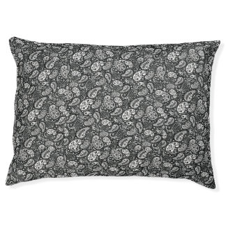 Black & White Paisley Floral Large Dog Bed