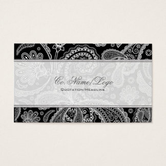 Black & White Paisley Pattern Business Card