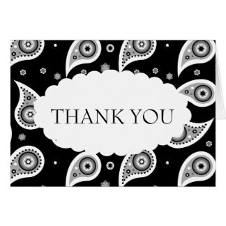 Black & White Paisley Wedding Thank You Card