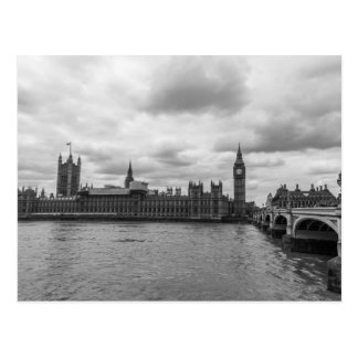 Black & White Palace of Westminster London Travel Postcard