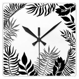 Black White Palm Tree Foil Botanical Minimal Square Wall Clock