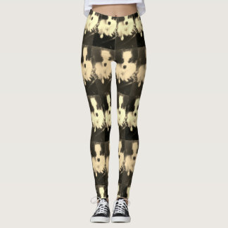 Black & white Papillon Dog designer leggings