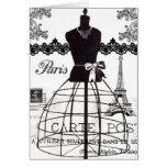 Black White Paris Fashion Mannequin Note Card