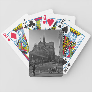 Black & White Paris notre dame Bicycle Playing Cards