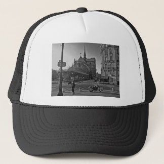 Black & White Paris notre dame Trucker Hat