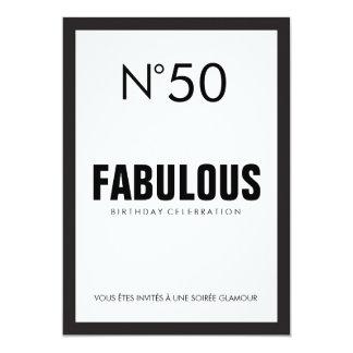 Black & White PARIS Theme FABULOUS 50TH Birthday Card