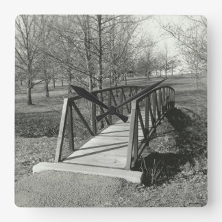 Black White Park Bridge Photograph Square Clock