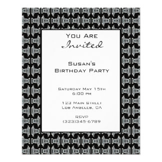 Black White Pattern Party Invite Flyer