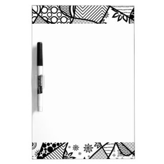Black & White Pattern Patchwork 01 Dry Erase Board