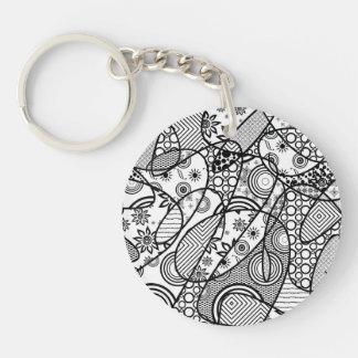 Black & White Pattern Patchwork 01 Keychain