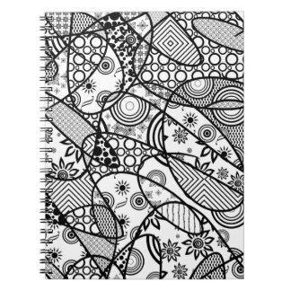 Black & White Pattern Patchwork 01 Notebooks