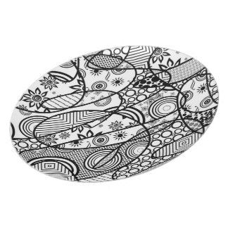 Black & White Pattern Patchwork 01 Party Plate