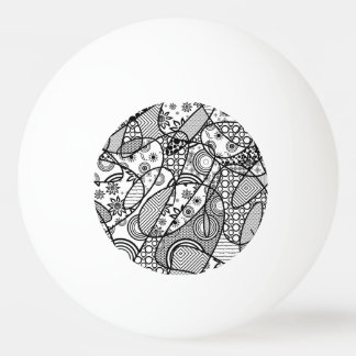 Black & White Pattern Patchwork 01 Ping Pong Ball