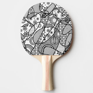 Black & White Pattern Patchwork 01 Ping Pong Paddle