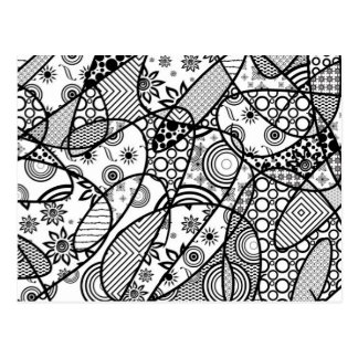 Black & White Pattern Patchwork 01 Postcard