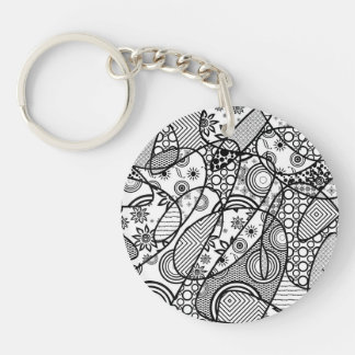 Black & White Pattern Patchwork 01 Single-Sided Round Acrylic Keychain