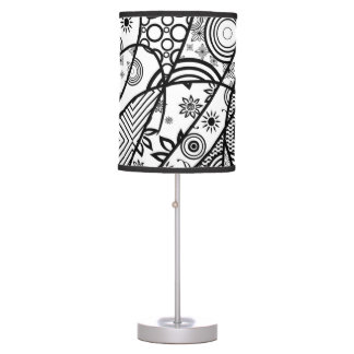Black & White Pattern Patchwork 01 Table Lamp
