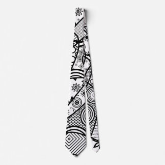 Black & White Pattern Patchwork 01 Tie