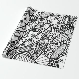 Black & White Pattern Patchwork 01 Wrapping Paper