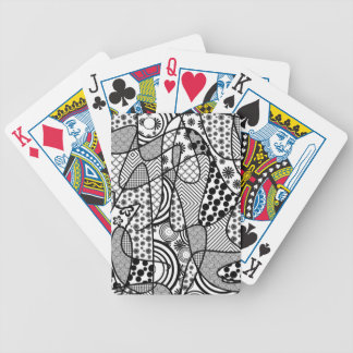 Black & White Pattern Patchwork 02 Bicycle Playing Cards
