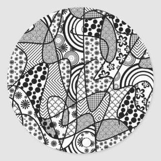 Black & White Pattern Patchwork 02 Classic Round Sticker