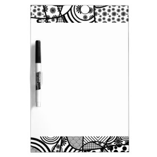 Black & White Pattern Patchwork 02 Dry Erase Board