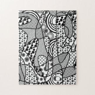 Black & White Pattern Patchwork 02 Jigsaw Puzzle