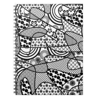 Black & White Pattern Patchwork 02 Notebook