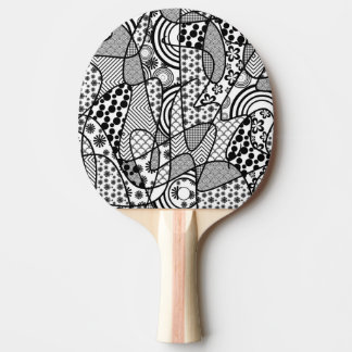 Black & White Pattern Patchwork 02 Ping Pong Paddle