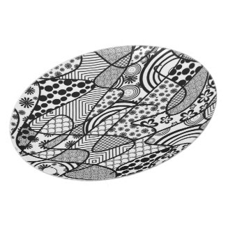 Black & White Pattern Patchwork 02 Plates