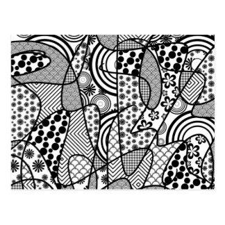 Black & White Pattern Patchwork 02 Postcard