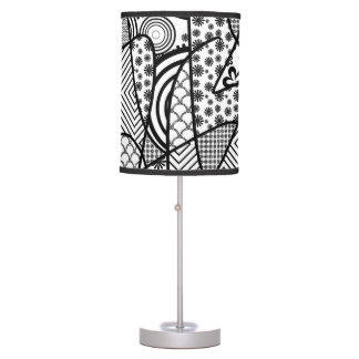 Black & White Pattern Patchwork 02 Table Lamp