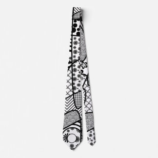 Black & White Pattern Patchwork 02 Tie