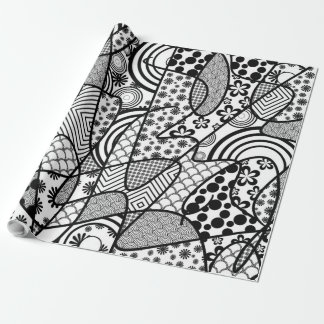 Black & White Pattern Patchwork 02 Wrapping Paper