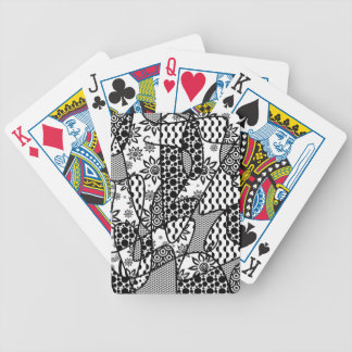 Black & White Pattern Patchwork 03 Bicycle Playing Cards