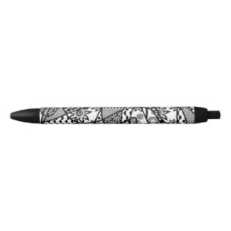Black & White Pattern Patchwork 03 Black Ink Pen