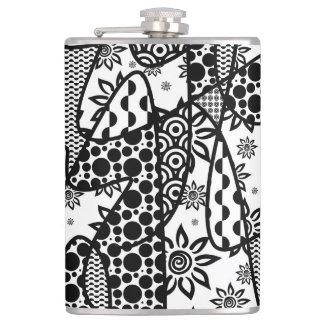Black & White Pattern Patchwork 03 Hip Flask