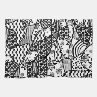 Black & White Pattern Patchwork 03 Kitchen Towel