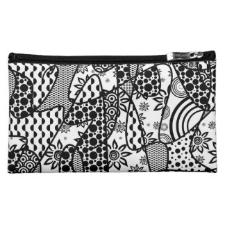 Black & White Pattern Patchwork 03 Makeup Bag