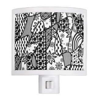 Black & White Pattern Patchwork 03 Night Lite
