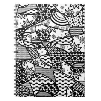 Black & White Pattern Patchwork 03 Notebook