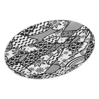 Black & White Pattern Patchwork 03 Party Plate