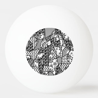Black & White Pattern Patchwork 03 Ping Pong Ball