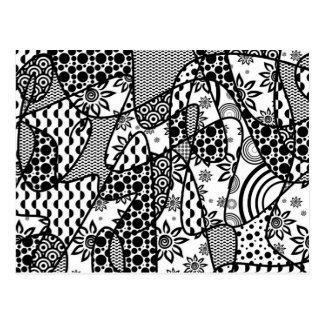 Black & White Pattern Patchwork 03 Postcard