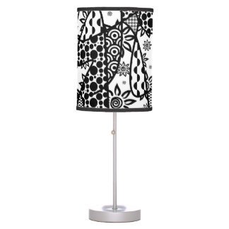Black & White Pattern Patchwork 03 Table Lamp